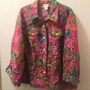 Ruby Rd. Semi Sheer Floral Blouse/ Jacket